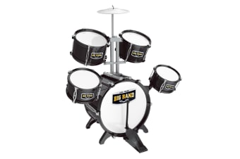 New Kids Toys Jazz Rock Drum Set Drums Cymbal Stool Sticks Black