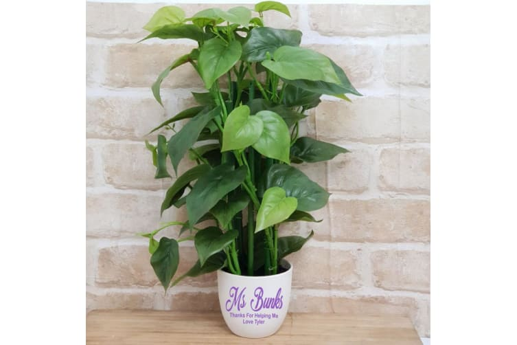 Real Touch Philodendron in Personalised Teacher Pot