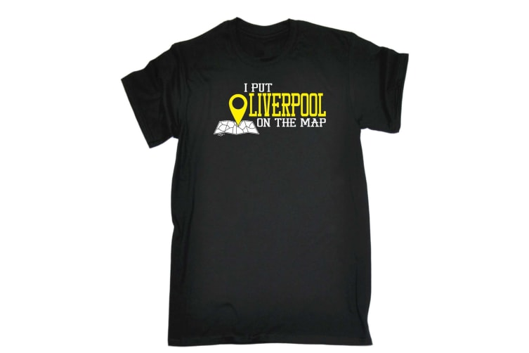 123T Funny Tee - Liverpool I Put On The Map - (Large Black Mens T Shirt)