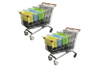 8pc Karlstert Sort & Carry Food Shopping Carrier Grocery Bags for Trolley Cart