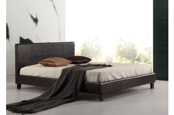 Queen PU Leather Bed Frame Brown