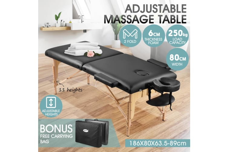 Adjustable 80cm Full Body Massage Bed Beauty Treatment Bed w/ Carrying Bag
