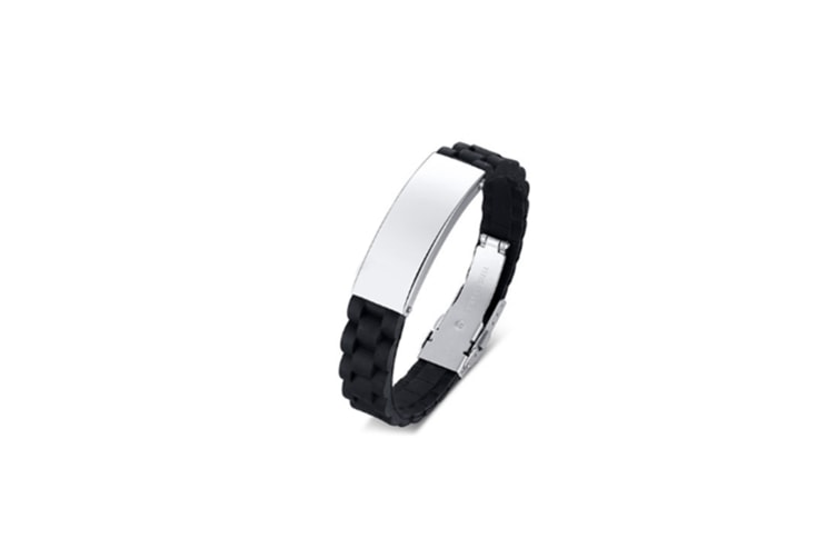 Personalized Silicone Stainless Steel Wristband Bangle - Black+Steel Color Silver