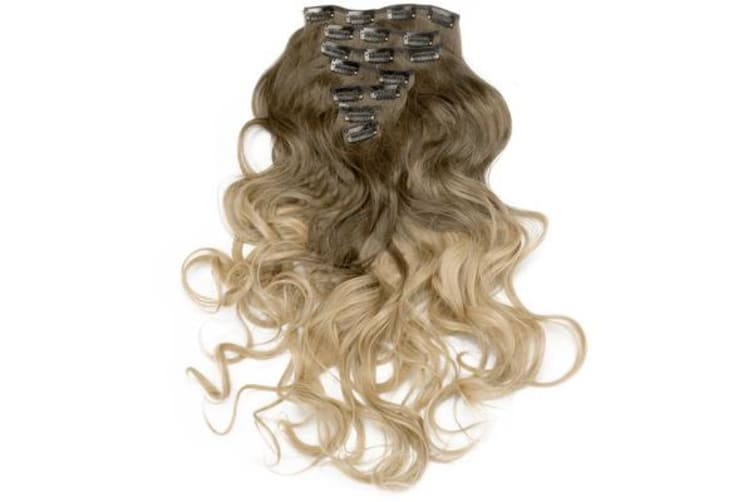 """2Pcs Two Tone Ombre High Grade Brown Curly Hair 7Piece 16Clips 24"""" Hair Extension 01 2X"""