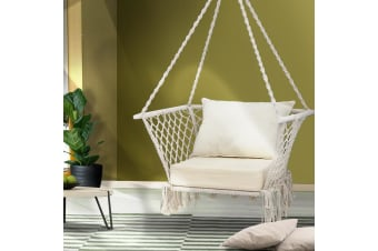 Camping Hammock Chair Patio Swing Portable Cotton Rope Cream