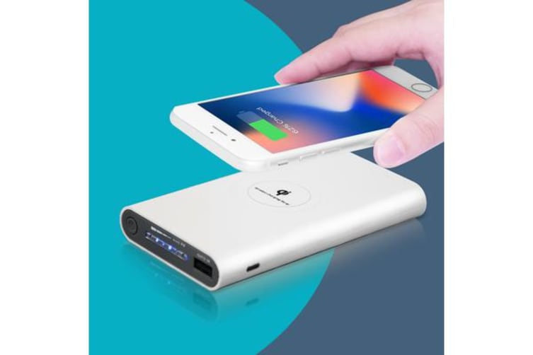 2IN1 Qi Wireless Charger 10000mAh Fast Charging Pad For iPhone Samsung Android WHITE