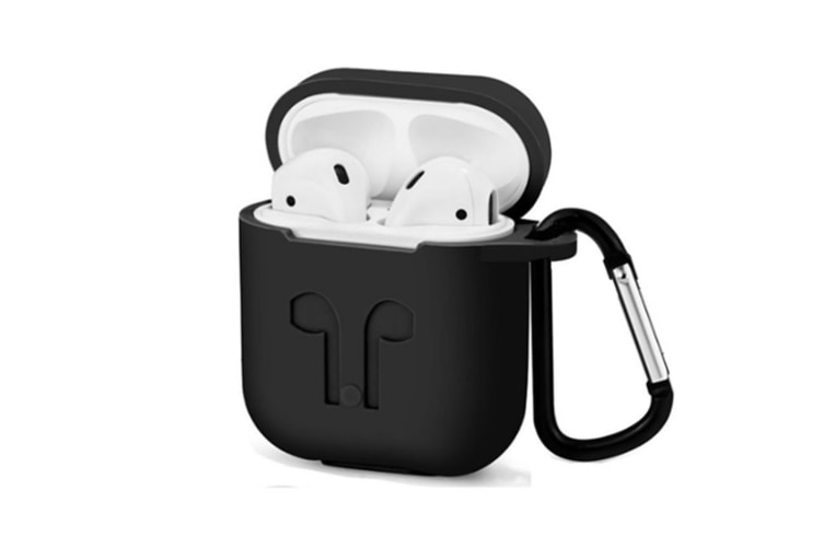 AirPods Case with Strap Protective Silicone Cover with Carabiner for Apple Airpods Accessories Black