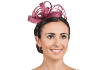 Hawkins Collection Womens/Ladies Ribbon And Feather Fascinator (Plum) (One Size)