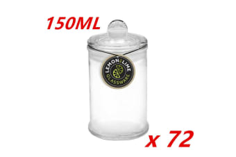 72 x 150ML Glass Apothecary Candy Jar with Lid Candy Candle Waxing Lolly Wedding