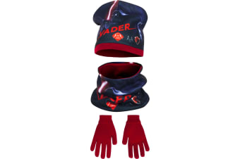 Star Wars Childrens Boys Winter Hat  Snood And Gloves Set (Red)