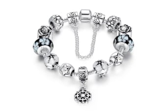 Pandora Inspired Full Set Beaded Charm Bracelet-White