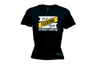 Drowning Worms Fishing Tee - Its A Thing - (X-Large Black Womens T Shirt)