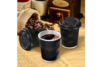Black Disposable Coffee Cups 8oz 50 Cups & 50 Lids