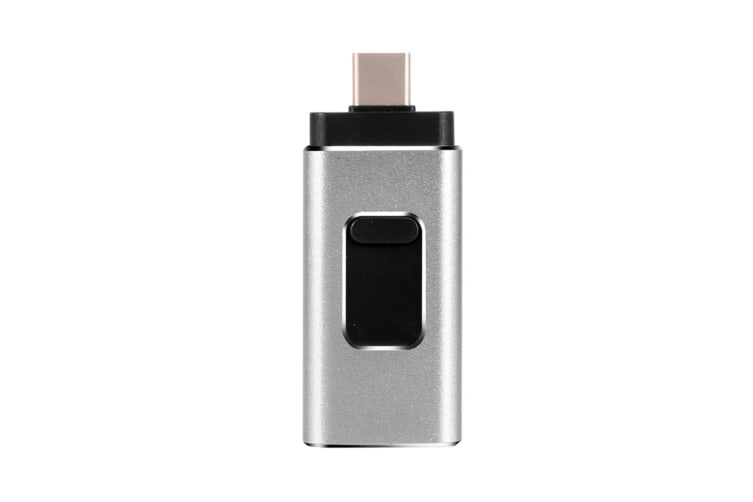 4-In-1 Flash Drive U-Disk Storage Rod For Iphone Android Type-C Computer Silver Grey 32G