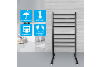 Round 8 heat rods free standing heated towel rail black
