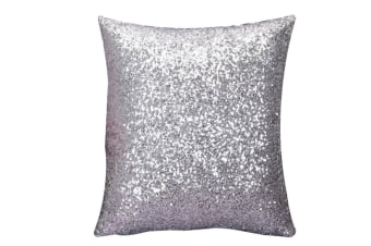 Decorative Glitzy Sequin & Comfy Satin Solid Throw Pillow Covers 18 Inch Square Pillow Case Silver