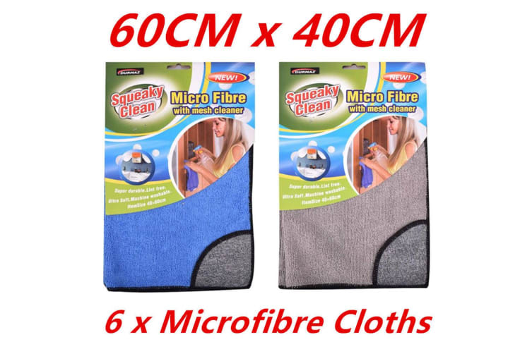 6 x Microfibre Cleaning Cloth Mesh Cleaner Microfiber Dish Car Gym Towel Glass