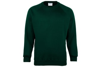 Maddins Kids Unisex Coloursure Crew Neck Sweatshirt / Schoolwear (Bottle Green) (24)