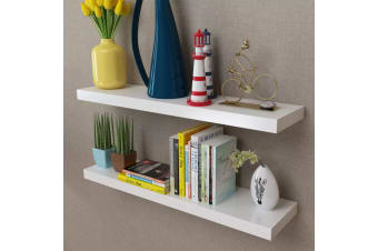 vidaXL 2 White MDF Floating Wall Display Shelves Book/DVD Storage