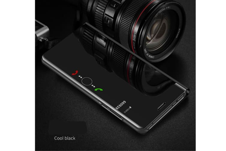 Mirror Case Translucent Flip Full Protection Mobile Phone Stand For Huawei Black Huawei Y6 2018