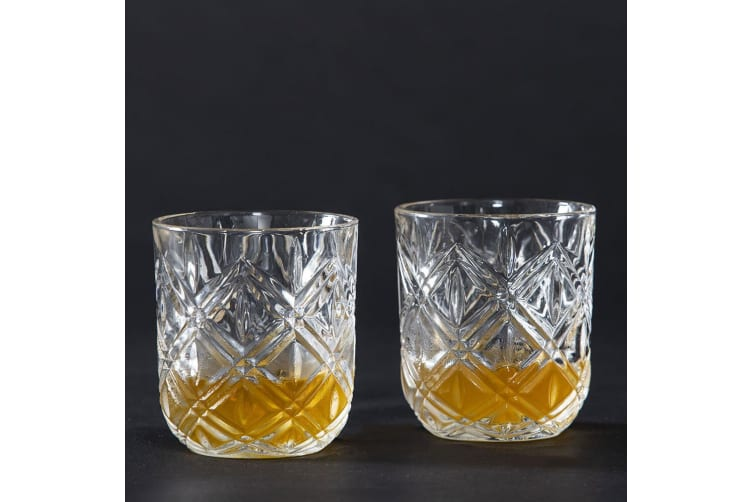 2pc Fine Foods 280ml Deluxe Double Old Fashion Glass Whiskey Rum Bourbon Clear