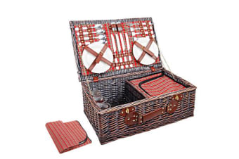 Alfresco Willow 4 Person Picnic Basket (Red/Green)