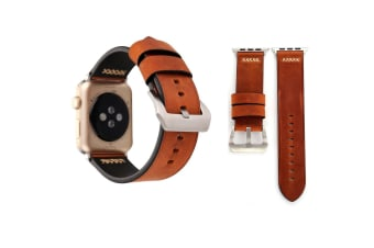 For Apple Watch Series 4 3 2 1 Coffee Retro Genuine Leather Strap 44mm 42mm