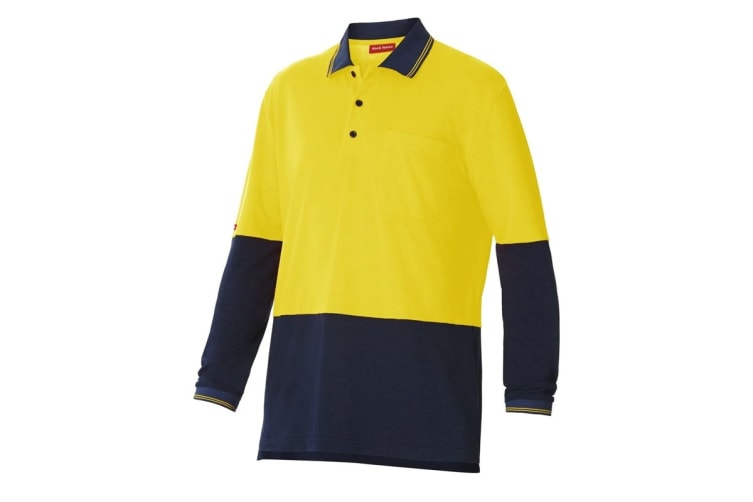 Hard Yakka High Visibility Two-Tone Long Sleeve Polo Top (Yellow/Navy, Size 4XL)