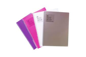 Tiger Stationery Ring Bound Notebooks (Clear/Grey/Pink/Purple) (A4)