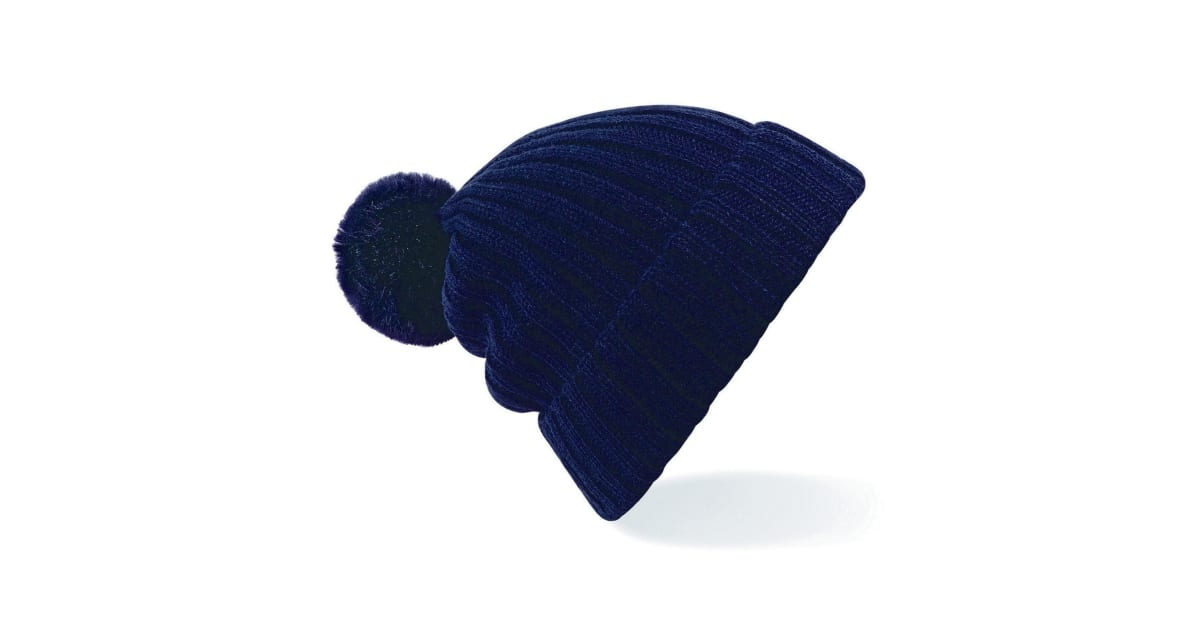 Womens Ladies Arosa Winter Ribbed Knitted Faux Fur Pom Pom Bobble Beanie Hat