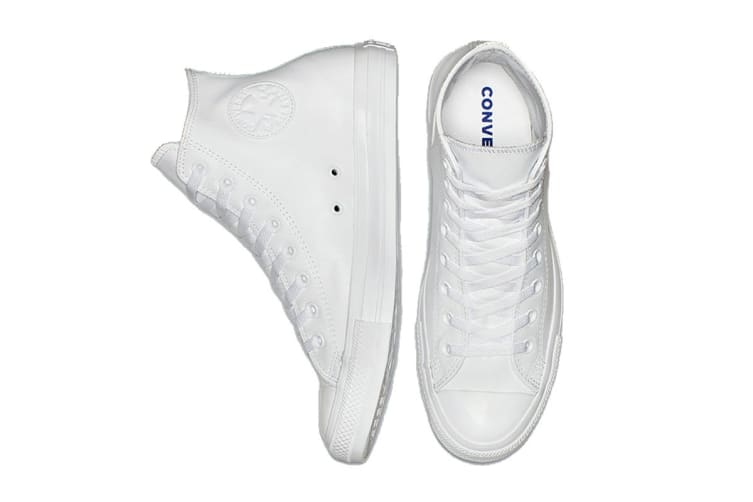 Converse Unisex Chuck Taylor All Star Leather Hi (White Monochrome, Size 5)
