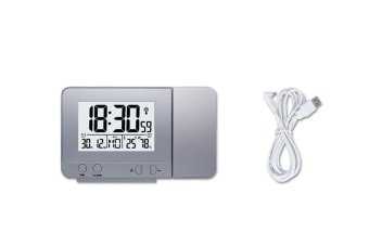 Alarm Clock With Time And Temperature Projection Usb Charging Alarm Clock - Silver Silver