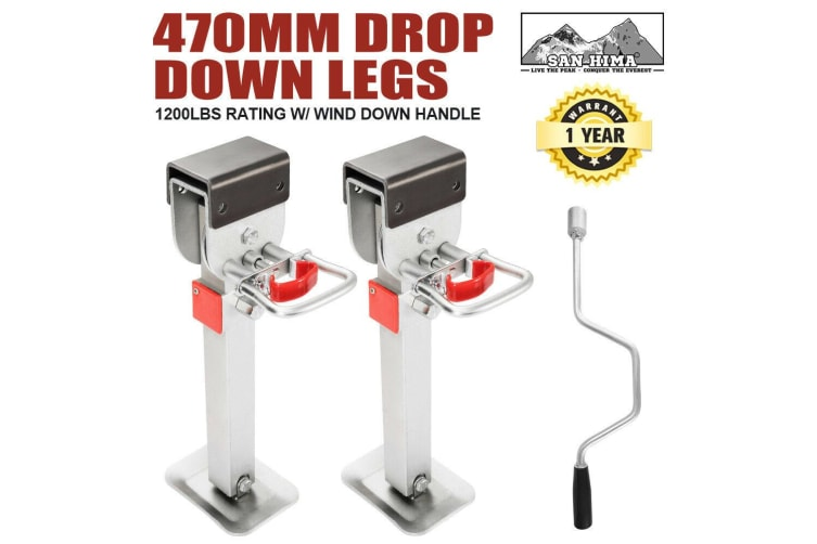 SAN HIMA 2x 470Mm Drop Down Corner Legs Steadies & Handle Steel Foot Caravan Trailer