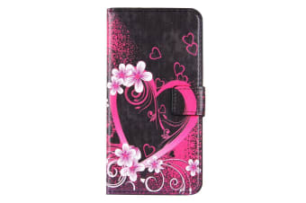 For iPhone 8 PLUS 7 PLUS Wallet Case Blossoming Heart Protective Leather Cover