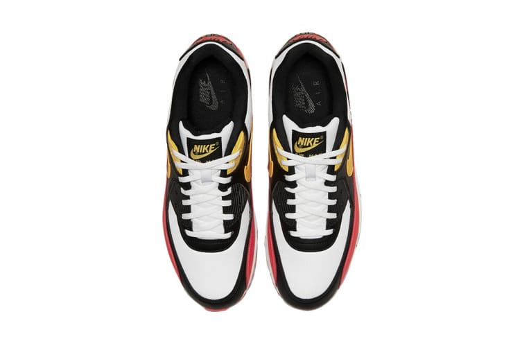 Nike Men's Air Max 90 Essential Shoes (Red/Black/Yellow, Size 12 US)