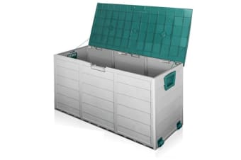 290L Plastic Outdoor Storage Box Container Weatherproof (Grey/Green)