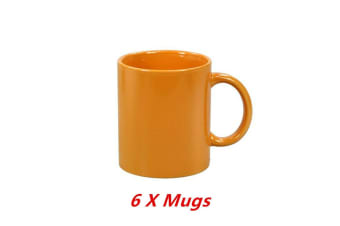 6 x Ceramic Can Mug Orange Colour Coffee Mugs Drinking Tea Cup Tumbler Event Party
