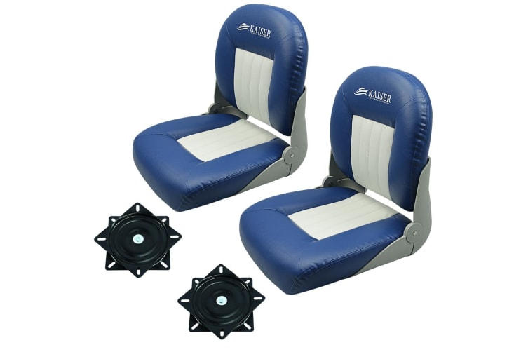 Kaiser Boating Set of 2 Deluxe Pro Boat seat - 28oz Marine Grade Vinyl, Blue & White with swivels