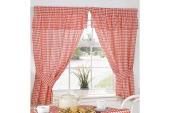 Molly Gingham Chequer Pattern Ready Made Curtains With Valance Top (Red) (46 x 54 (117cm x 137cm))