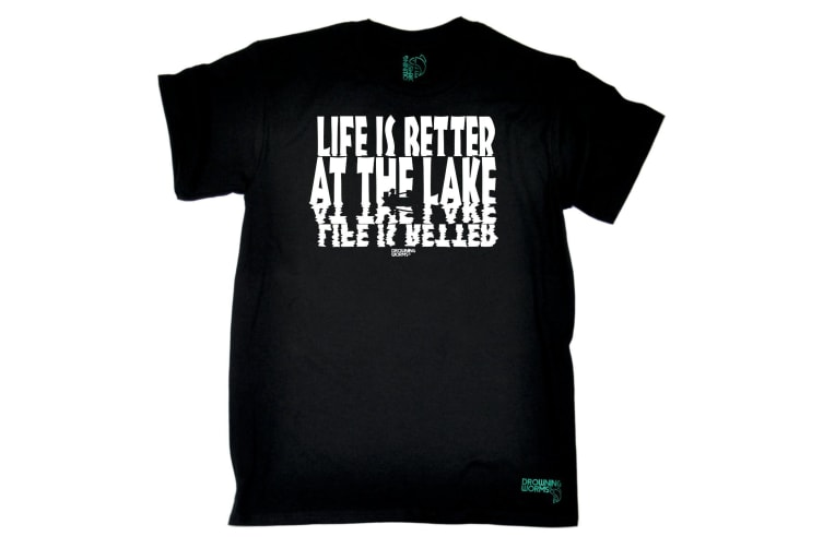 Drowning Worms Fishing Tee - Life Is Better At The Lake - (X-Large Black Mens T Shirt)