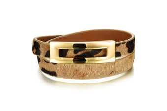 Genuine Cow Leather Wrap Bracelet With 18K Gold Buckle-Leather/Tri Tone