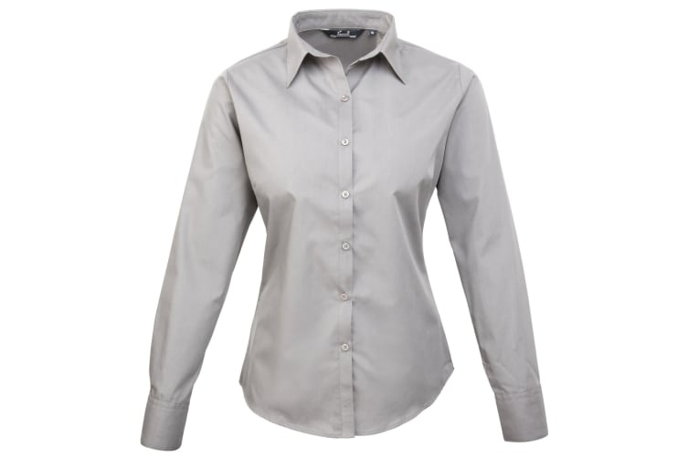 Premier Womens/Ladies Poplin Long Sleeve Blouse / Plain Work Shirt (Silver) (16)