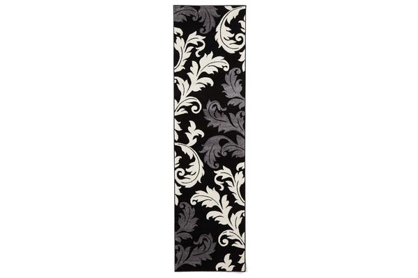 Damask Leaf Design Rug Black Grey 300x80cm