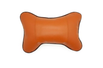 Set Of 2 Comfy And Breathable Faux Leather Car Seat Neck Rest Pillows Pad Cushion Brown