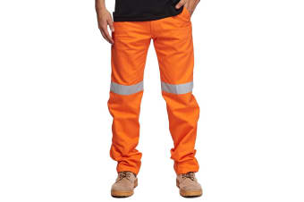 King Gee Men's Hi Vis Reflective Tape Work Gear Pants Workwear Orange SZ 48 122S