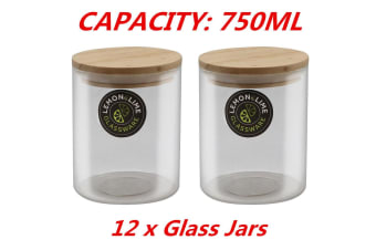 12 x Food Storage Jar Glass Jars 750ML Canister Container Wooden Lid Tube Tubs