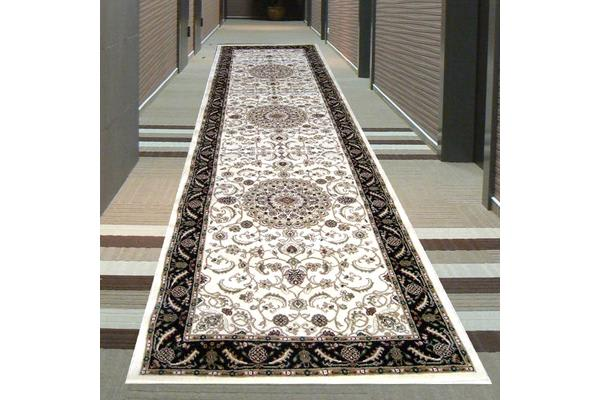 Medallion Runner Ivory with Black Border 300x80cm