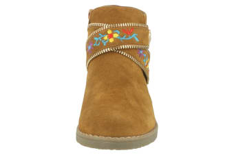 Spot On Girls Suede Ankle Boots (Tan) (UK 1)