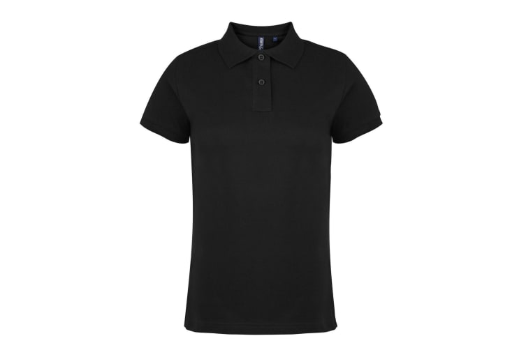 Asquith & Fox Womens/Ladies Plain Short Sleeve Polo Shirt (Black) (S)