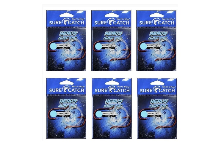 6 Pack of Surecatch Pre-Tied Heavy Surf Rig with Chemically Sharpened Fishing Hooks (Hook Size:6/0)